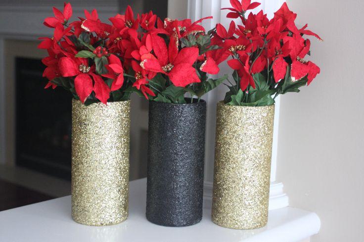 Christmas Centerpiece, Gold Christmas, Black Christmas, Gold Christmas Decor, Christmas Vases, Gold Vases, Gold Christmas Centerpiece, gift by stringNthingsCanada on Etsy