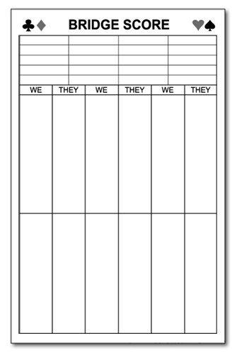 Large Bridge Score Notepad 5 5 Quot X 8 5 Quot Memo Writing