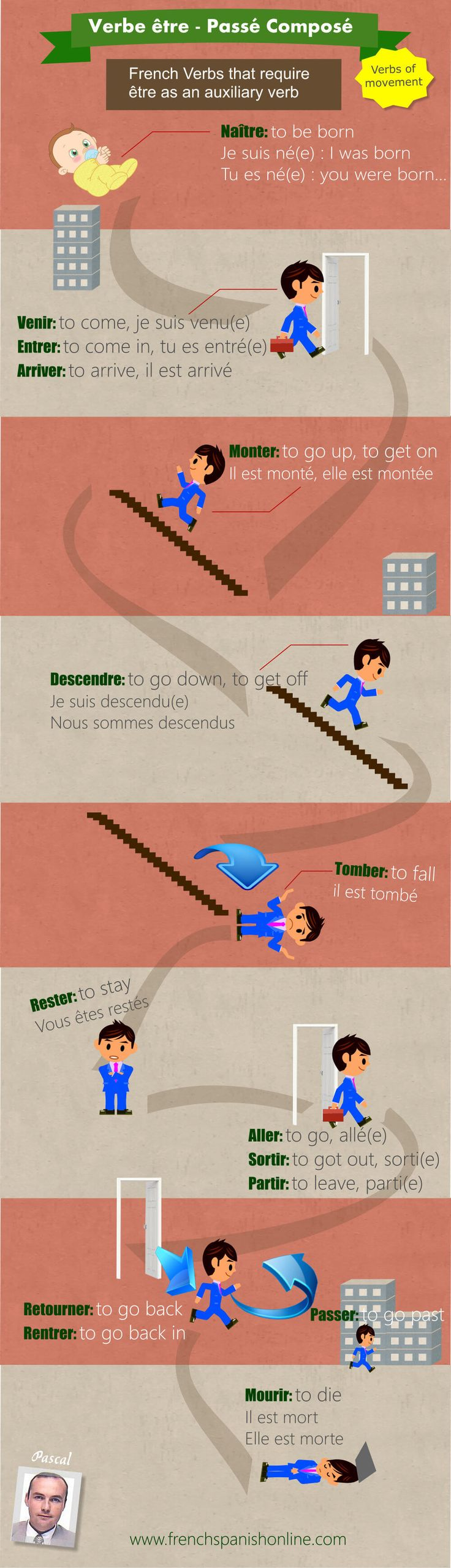 Passé Composé être: A picture to help with French verbs using être with past tense: a life story: http://www.frenchspanishonline.com/magazine/passe-compose/