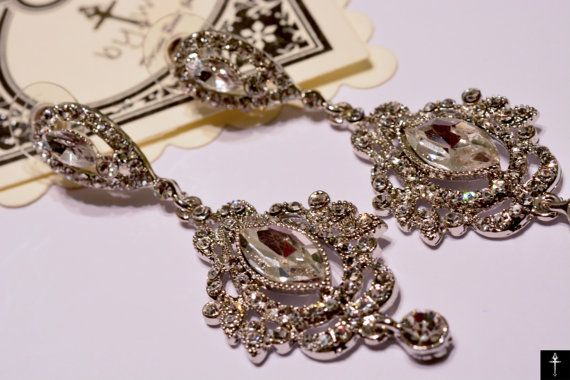 Victorian Chandelier Bridal Earrings Vintage Style by BYTWINS