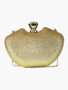 Bolso Clutch dorado con cadena brillante para fiesta