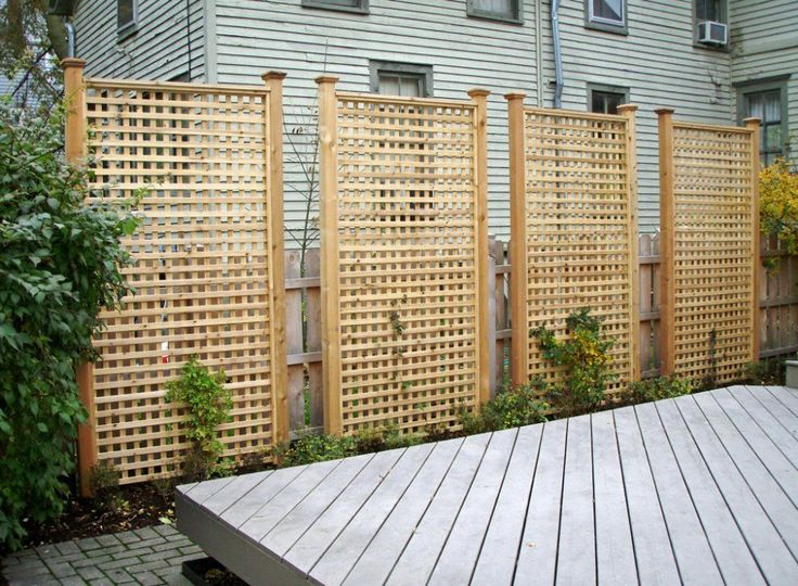 Here are tall rectangular cedar lattice privacy panels.