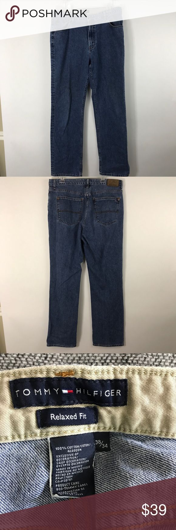 """Tommy Hilfiger Men's Jeans Relaxed Fit 38/34 Medium Wash  100% Cotton Measurements are approximate  Waist-lying flat-18.5"""" Inseam-33"""" Rise-12"""" R98 Tommy Hilfiger Jeans Relaxed"""