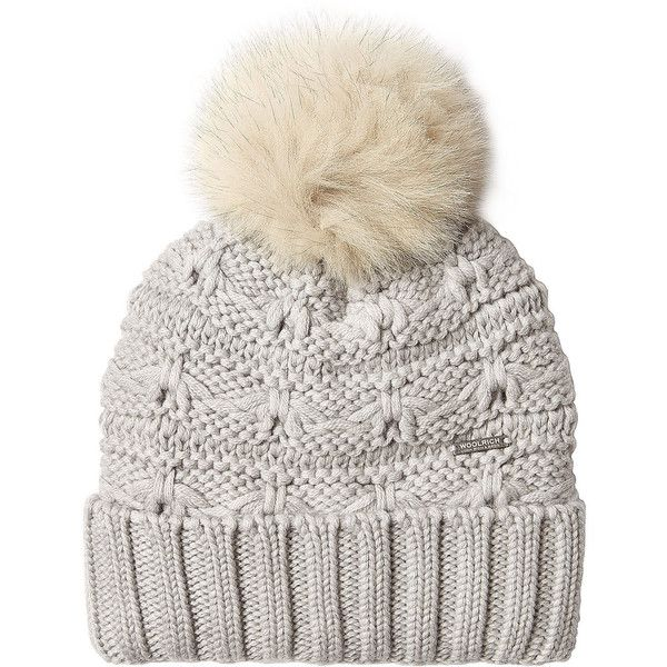 Woolrich Wool Hat ($99) ❤ liked on Polyvore featuring accessories, hats, beanie, none, gray hat, pom pom beanie, wool hat, gray beanie and grey hat