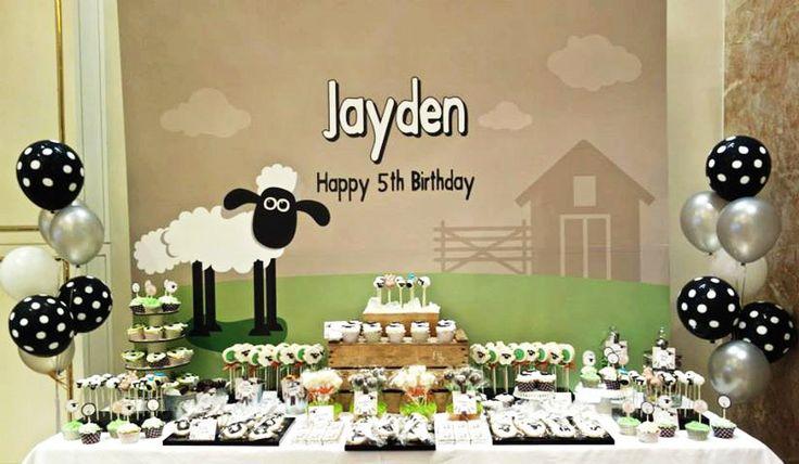 Printable backdrop Shaun the sheep birthday party by envyanvi