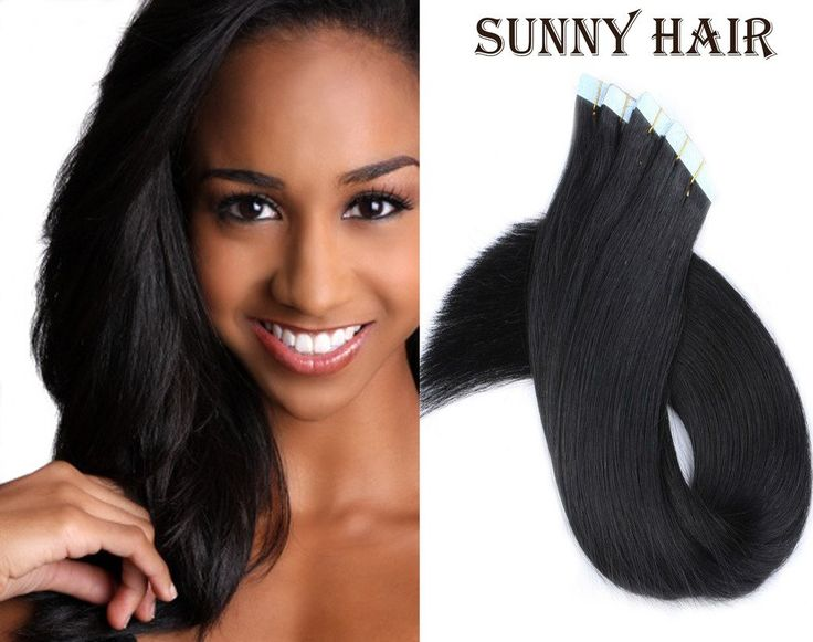 Sunny 18 Inches Tape in Premium Real Human Hair Extensions 10pcs 25Gram Straight Women Beauty Salon Style Natural Black #1 -- Awesome products selected by Anna Churchill