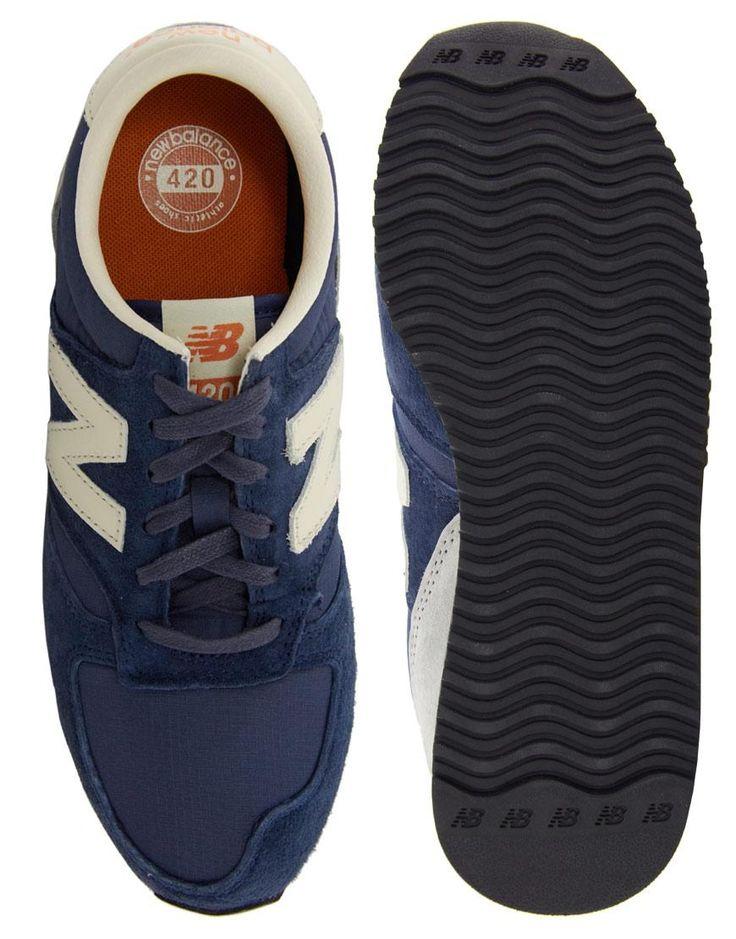 New Balance | New Balance - 420 - Baskets en daim - Bleu marine chez ASOS