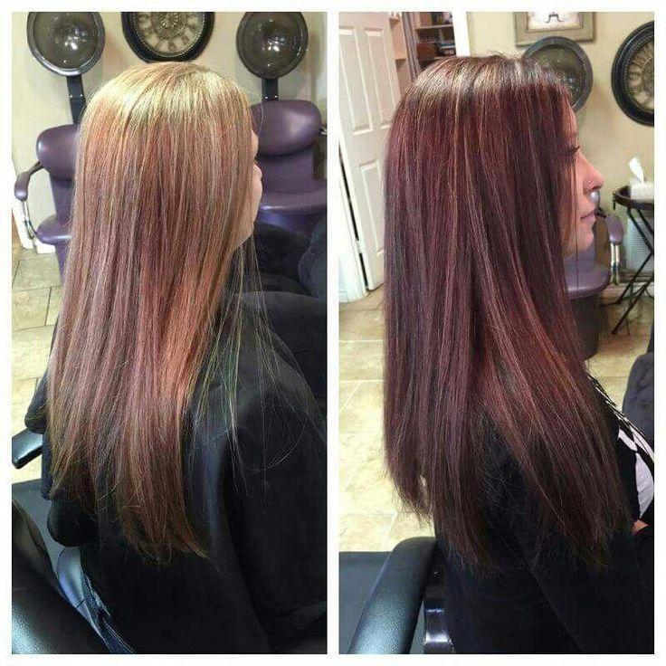 Von Blond zu einer hinreißenden Brünette! Rot / Braun mit Highlights! Farbe ist ähnlich …   – hair color ideas