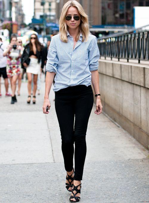 On aime quand la chemise rayée se fait plus nonchalante que stricte ! (blog Elin Kling)