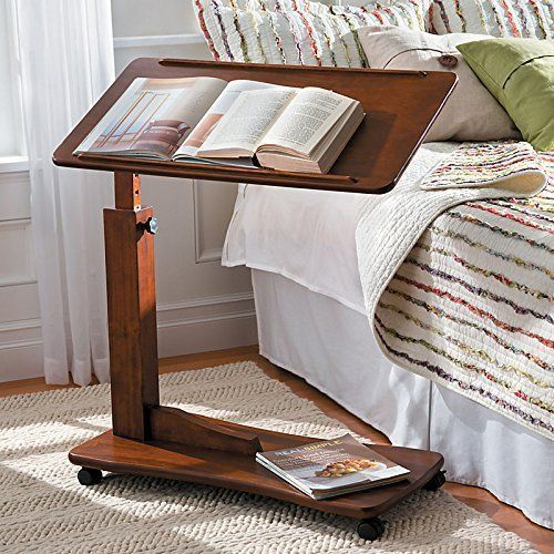 Walnut Bedside Rolling Work Table Hospital Bed Tray Laptop Desk Wood Furniture #WalnutBedsideRolling