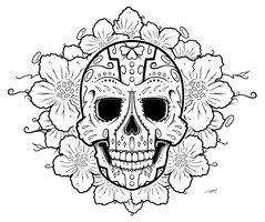 printable coloring pages of skulls and roses deviantart more like sugar skull by dumboink