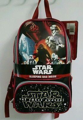 NEW Star Wars The Force Awakens Backpack w/ Sleeping Bag Kylo Ren Disney Bookbag