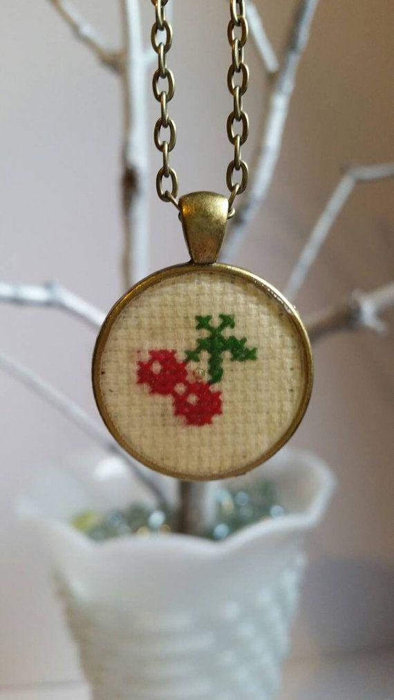 Cross stitch cherry pendant necklace by mydisheveledducks on Etsy