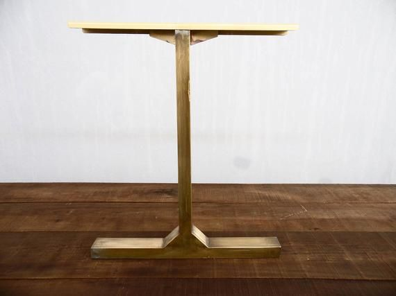 Modern Vintage Custom Brass Table Legs 28 Besik Single Bar