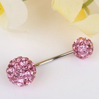 Cool Pink Crystal Ball Stainless Steel Round Ball Bar Navel Belly Ring--Cheap Wholesale