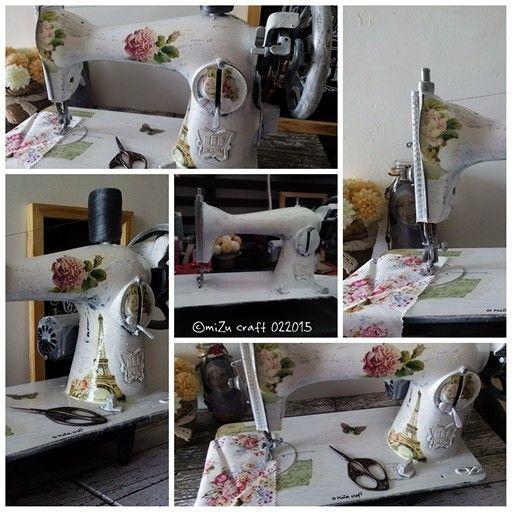 Shabby chic sewing machine #decoupage #imadeit