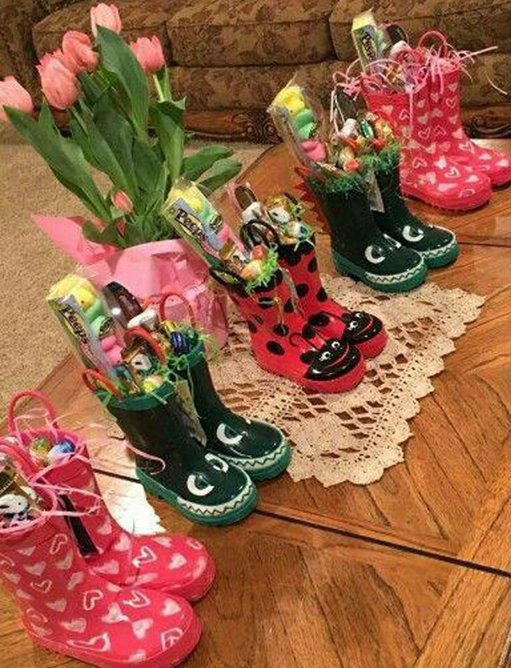 When Easter comes in April, I like this idea for kids ::: Rainboot Easter baskets!!