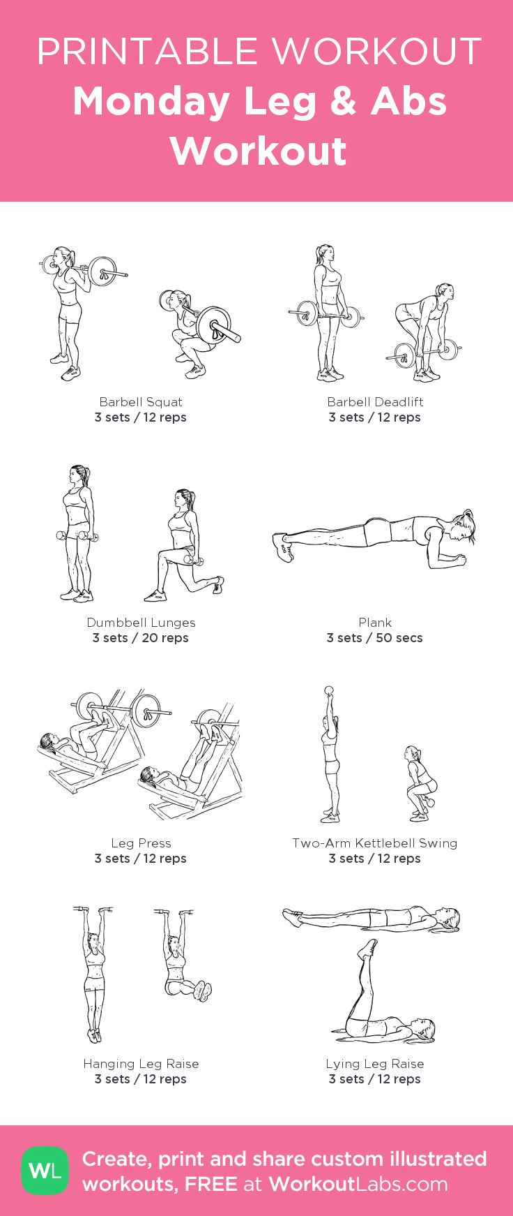 Monday Leg & Abs Workout: my custom printable workout by @WorkoutLabs #workoutlabs #customworkout #legworkout #absworkout