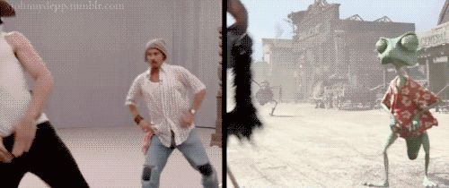 hilarious gif of johnny depp making rango. don't forget to look at the guy doing the spider ;)