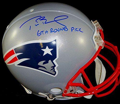 "Tom Brady Autographed Patriots Proline Authentic Helmet - with ""6th Round Pick"" inscription."