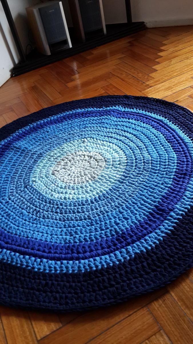 Alfombra Artesanal De Totora-deco Hogar Tejida A Crochet - $ 830,00 en MercadoLibre