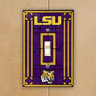 LSU Tigers Purple Art-Glass Switch Plate Cover