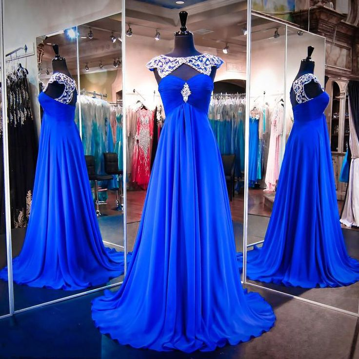 Royal Blue Prom Dress with Beaded Neckline, High Neck Chiffon Prom Gowns, Wholesale Open Back Prom Dress, #020102216 · VanessaWu · Online Store Powered by Storenvy