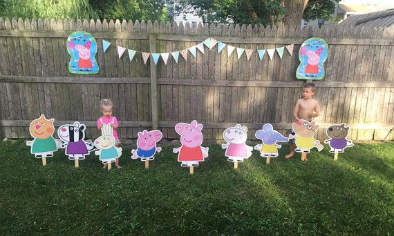 Peppa Pig Character Lawn Sign Party Prop by CharacterConceptions