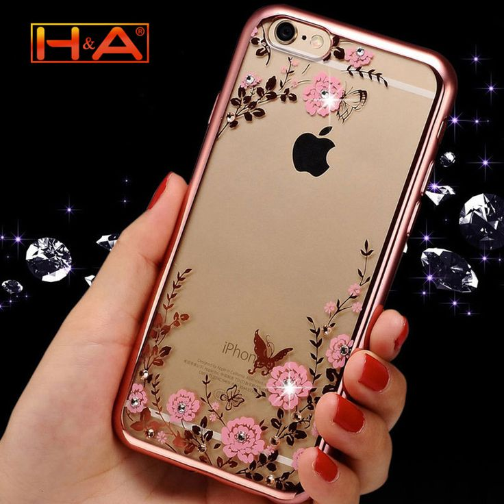 Luxury Secret Garden Flowers Rhinestone Cell Phone Cases For IPhone 6 6S coque Women Plating capa Case Cover -- Detailed information can be found by clicking on the image