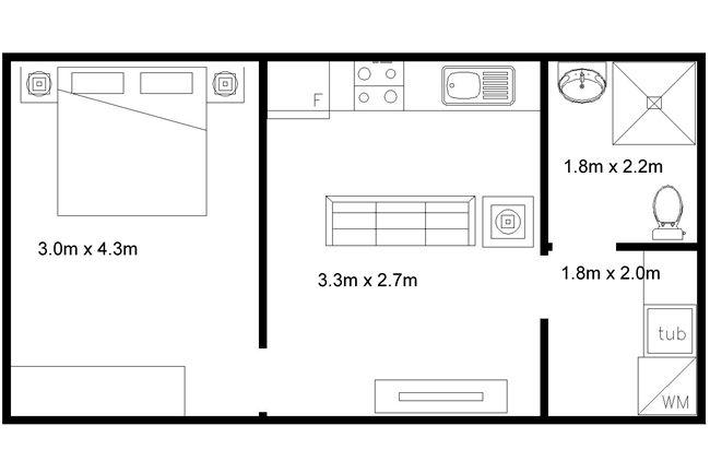 Lili-2 - Granny Flat **instead of a tub a walk in closet