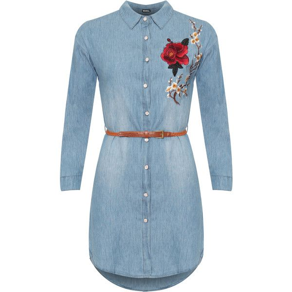 Diana Rose Accent Belted Denim Shirt Dress ($48) ❤ liked on Polyvore featuring dresses, blue, blue floral dress, t-shirt dresses, floral print dress, belted shirt dress and blue dress