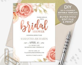 Rose Gold Bridal Shower Invitation Diy Editable Template