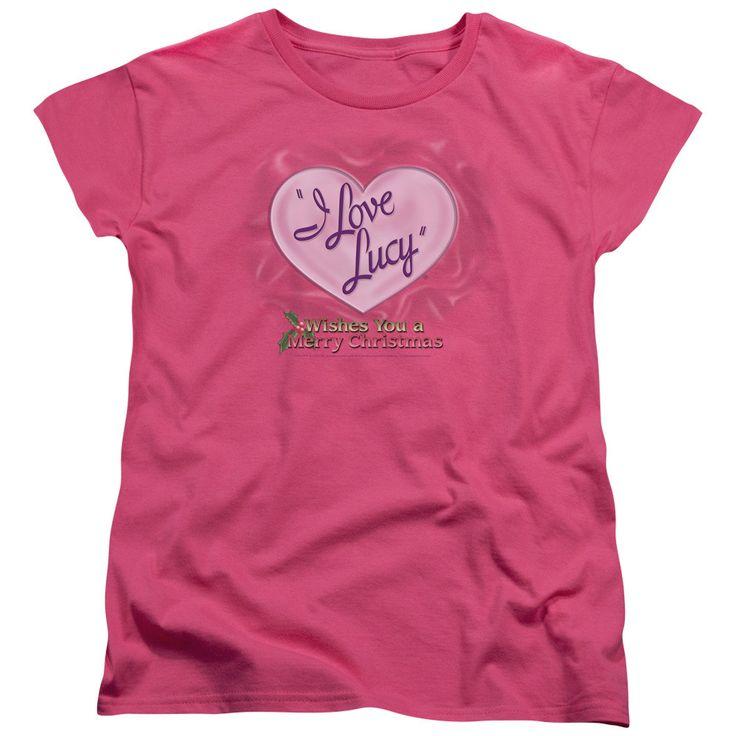 I Love Lucy Christmas Logo Hot Pink Women's Short Sleeve Tee