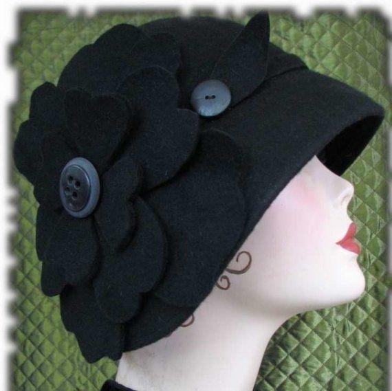 Cloche Black Wool Hat Flapper Hat Great Gatsby Hat by BoringSidney, $148.00