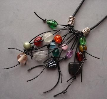 Leather Fringe Necklace Tutorial Uses Up Odd Beads - The Beading Gem's Journal