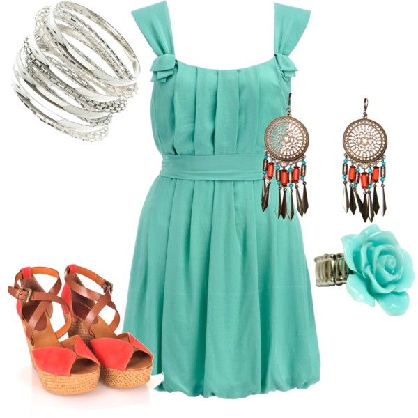 orange & light blue party outfit, created by martin-adk on Polyvore