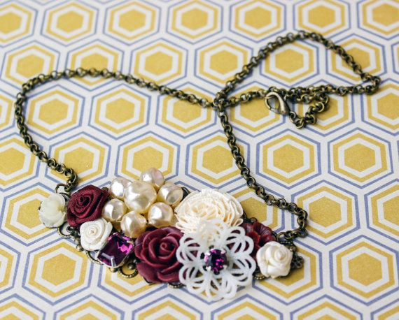 Wine Collage Necklace Burgundy Collage by FrenchAtticDesign