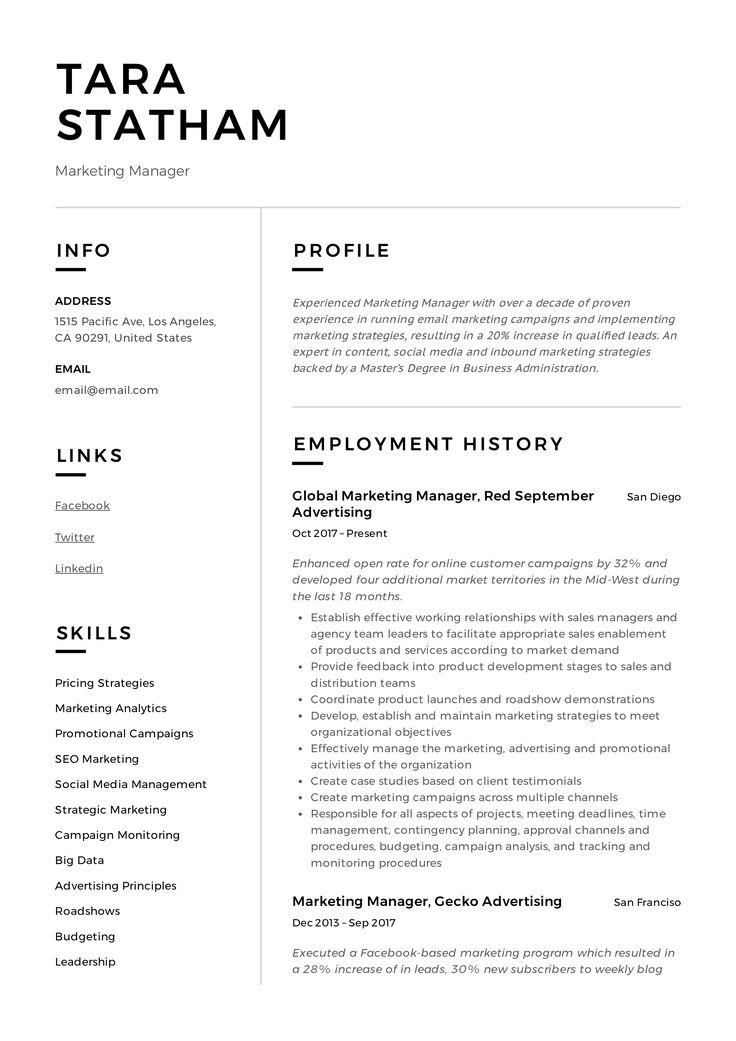 Marketing Manager Resume Sample Manager Resume Inbound Marketing Strategy Marketing Manager