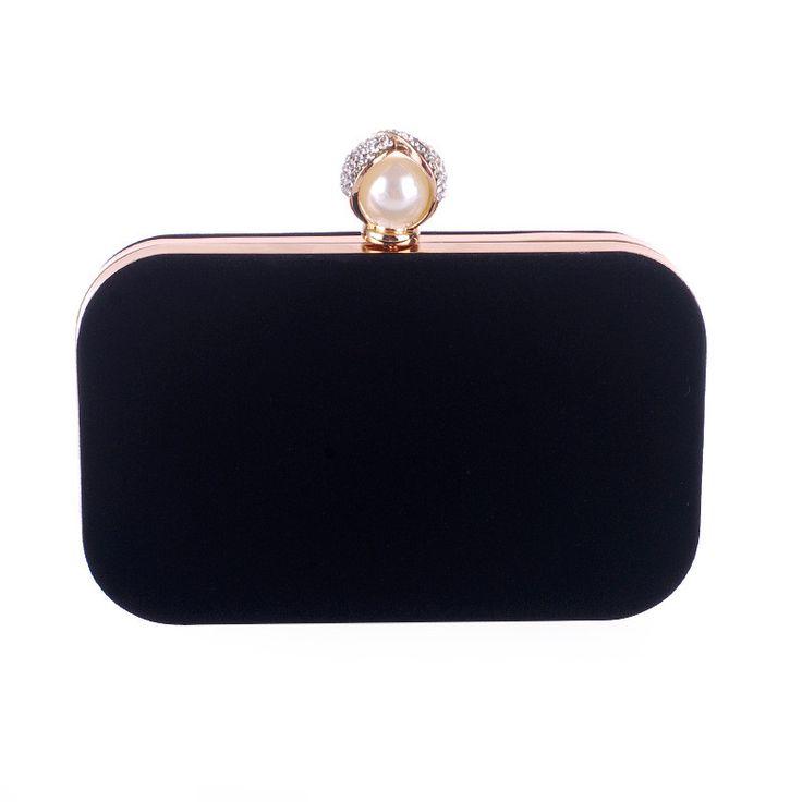 Ladies Velvet Clutch Pearl Crystal Evening Bags Women Velour Party Wedding Hand Bag Bridal Luxury Mini Day Purse bolsos XA836H