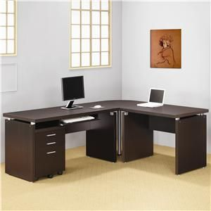 Coaster Skylar Contemporary L Shaped Computer Desk - Del Sol Furniture - L-Shape Desk Phoenix, Glendale, Tempe, Scottsdale, Arizona