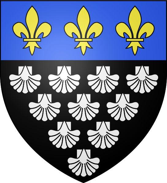 Coat of arms of Mont-Saint-Michel abbey (Normandy) : sable ten escallops argent, a chief azure three fleur-de-lis or