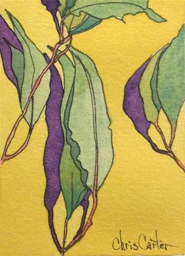 """Eucalyptus leaves, Artist Trading Card"" - Original Fine Art for Sale - © Chris Carter"