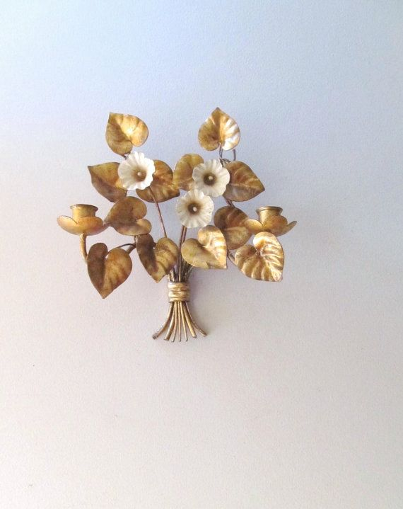 3 0 Door Gilded Lily Gold Leaf Italian Tole Wall Sconce