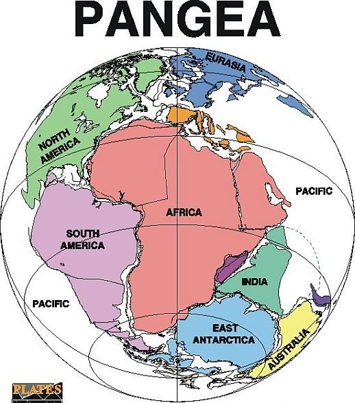 pangea supercontinent map description and division of continents 2 million years ago in Ramayana