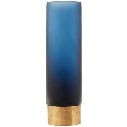 Vase - Base - Mørkeblå/guld - Ø:7 cm H:24 cm   House Doctor
