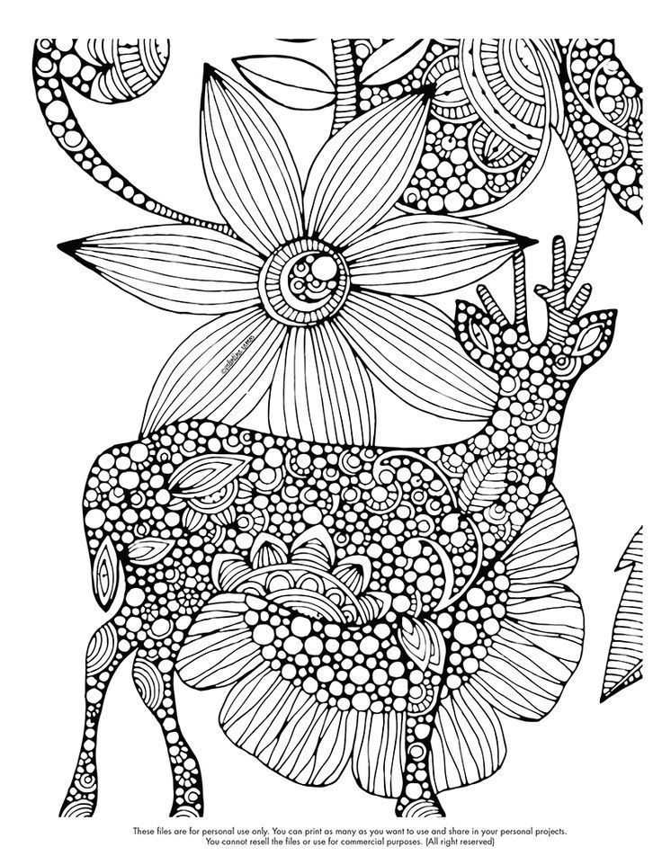 Free Coloring Page Difficult Deer And Big Flower Drawing