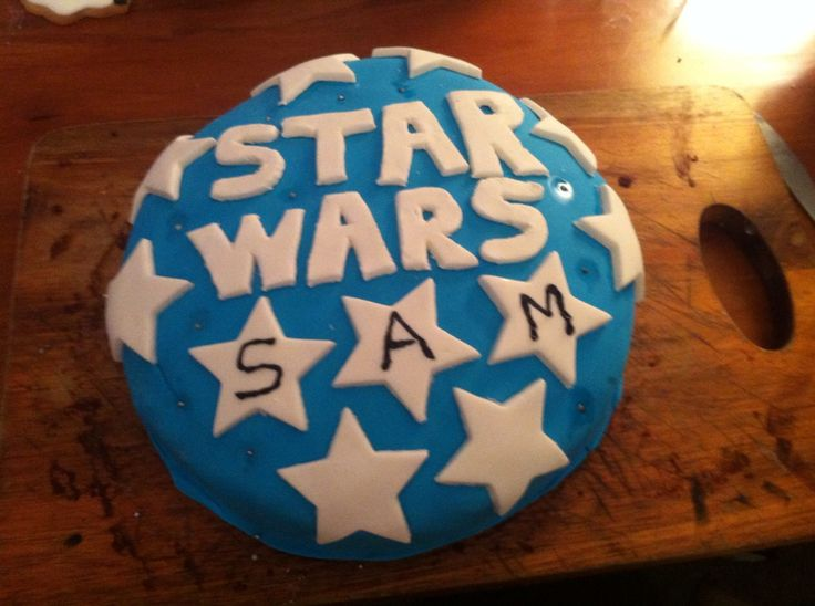A 7th birthday cake. Star Wars themed. Was not so good at getting the Star Wars pattern right. But still effective everyone loved it.