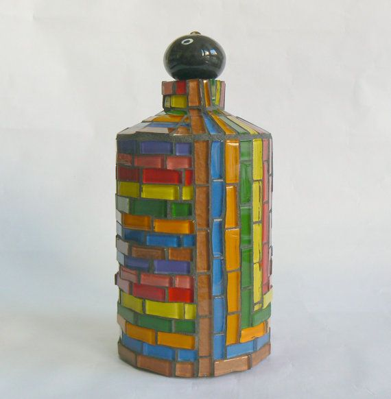 Mosaic Bottle Colorful Illusion by LucanoMosaico on Etsy
