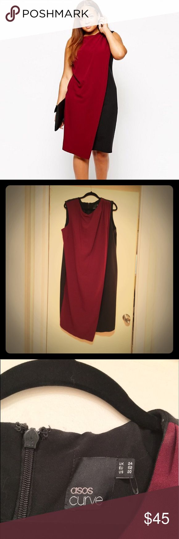 ASOS Curve Dress with Drape Layer Black/Wine High quality drape layer dress. Super dramatic and waiting for the perfect brooch. ASOS Curve Dresses