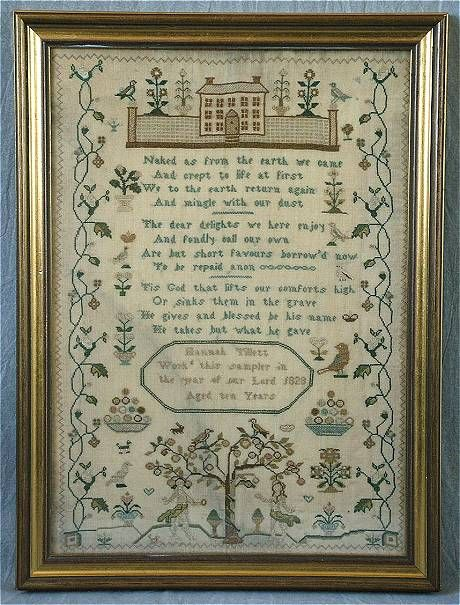 Silkwork Sampler by Hannah Tillett, 1828.